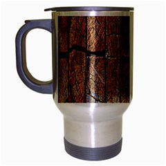 Wood Logs Wooden Background Travel Mug (Silver Gray)