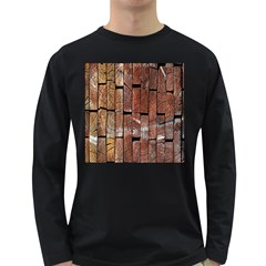 Wood Logs Wooden Background Long Sleeve Dark T-Shirts