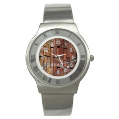 Wood Logs Wooden Background Stainless Steel Watch