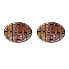 Wood Logs Wooden Background Cufflinks (Oval)