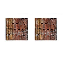 Wood Logs Wooden Background Cufflinks (Square)