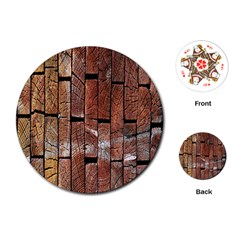 Wood Logs Wooden Background Playing Cards (Round)