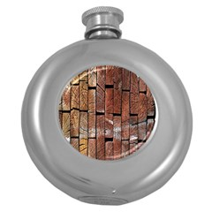 Wood Logs Wooden Background Round Hip Flask (5 oz)