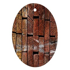 Wood Logs Wooden Background Oval Ornament (two Sides)