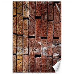 Wood Logs Wooden Background Canvas 12  x 18
