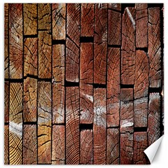 Wood Logs Wooden Background Canvas 16  x 16