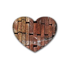 Wood Logs Wooden Background Heart Coaster (4 pack)