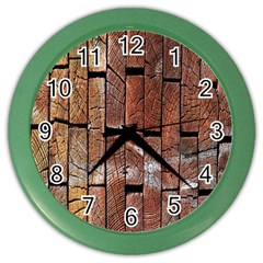 Wood Logs Wooden Background Color Wall Clocks