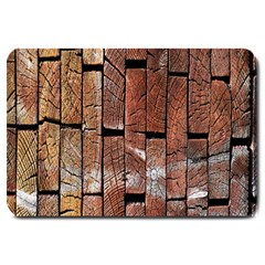 Wood Logs Wooden Background Large Doormat