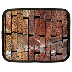 Wood Logs Wooden Background Netbook Case (Large)