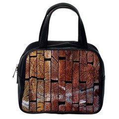 Wood Logs Wooden Background Classic Handbags (One Side)