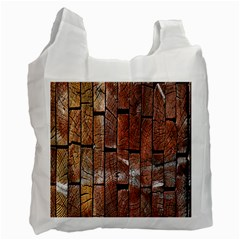 Wood Logs Wooden Background Recycle Bag (Two Side)