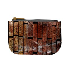 Wood Logs Wooden Background Mini Coin Purses