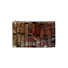 Wood Logs Wooden Background Cosmetic Bag (small)