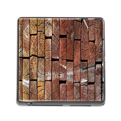Wood Logs Wooden Background Memory Card Reader (Square)