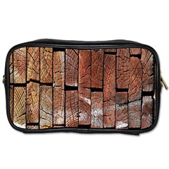 Wood Logs Wooden Background Toiletries Bags 2 Side
