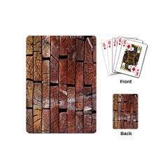 Wood Logs Wooden Background Playing Cards (Mini)