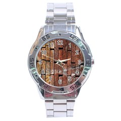 Wood Logs Wooden Background Stainless Steel Analogue Watch