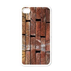 Wood Logs Wooden Background Apple iPhone 4 Case (White)