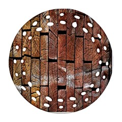Wood Logs Wooden Background Ornament (Round Filigree)