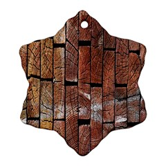 Wood Logs Wooden Background Snowflake Ornament (Two Sides)