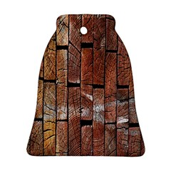 Wood Logs Wooden Background Bell Ornament (Two Sides)
