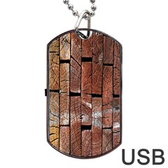 Wood Logs Wooden Background Dog Tag USB Flash (Two Sides)