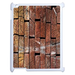 Wood Logs Wooden Background Apple iPad 2 Case (White)