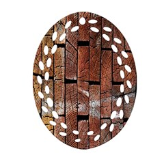 Wood Logs Wooden Background Ornament (oval Filigree)