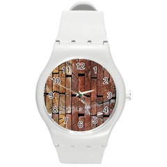Wood Logs Wooden Background Round Plastic Sport Watch (m)