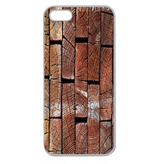 Wood Logs Wooden Background Apple Seamless Iphone 5 Case (clear)