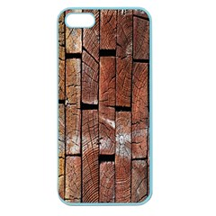 Wood Logs Wooden Background Apple Seamless Iphone 5 Case (color)