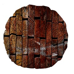 Wood Logs Wooden Background Large 18  Premium Round Cushions