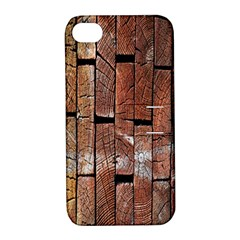Wood Logs Wooden Background Apple Iphone 4/4s Hardshell Case With Stand