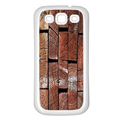 Wood Logs Wooden Background Samsung Galaxy S3 Back Case (white)