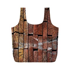 Wood Logs Wooden Background Full Print Recycle Bags (M)