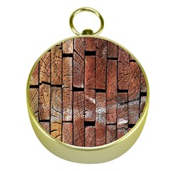 Wood Logs Wooden Background Gold Compasses
