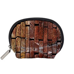 Wood Logs Wooden Background Accessory Pouches (small)
