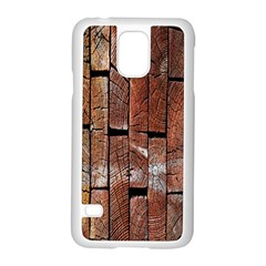 Wood Logs Wooden Background Samsung Galaxy S5 Case (White)