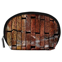 Wood Logs Wooden Background Accessory Pouches (Large)