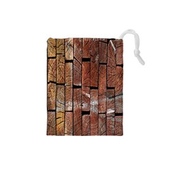 Wood Logs Wooden Background Drawstring Pouches (Small)