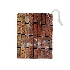 Wood Logs Wooden Background Drawstring Pouches (Medium)