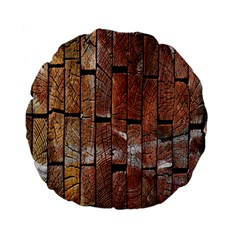 Wood Logs Wooden Background Standard 15  Premium Flano Round Cushions