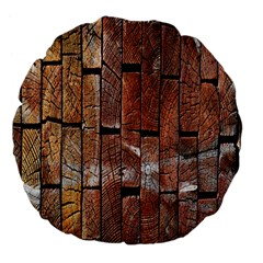 Wood Logs Wooden Background Large 18  Premium Flano Round Cushions