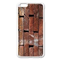 Wood Logs Wooden Background Apple iPhone 6 Plus/6S Plus Enamel White Case