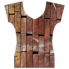 Wood Logs Wooden Background Women s V-Neck Cap Sleeve Top