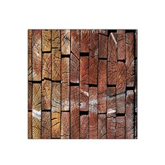 Wood Logs Wooden Background Satin Bandana Scarf