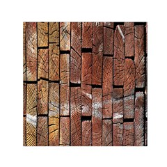 Wood Logs Wooden Background Small Satin Scarf (Square)