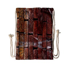 Wood Logs Wooden Background Drawstring Bag (small)