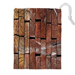 Wood Logs Wooden Background Drawstring Pouches (XXL)